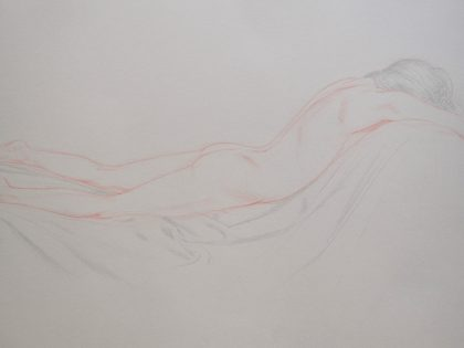 Prone Female Nude With Arms Forward