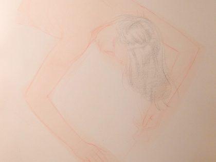 Prone Half-length Female Nude With Arms Forward