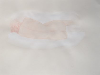 Reclining Female Nude On Left Side With White, Back View