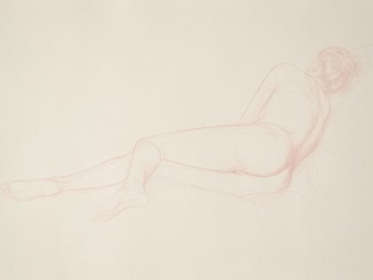Reclining Female Nude On Right Side Facing Away