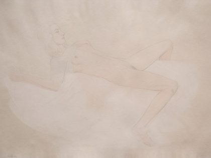 Reclining Female Nude With Blue Top