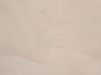 Detail: Reclining Female Nude With Blue Top