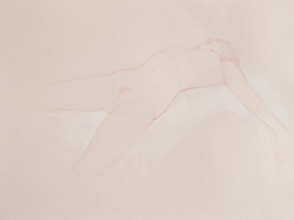 Reclining Female Nude Looking Up
